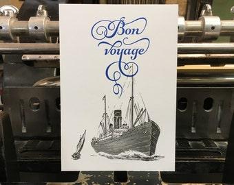 "Carte postale Paquebot ""Bon voyage"""