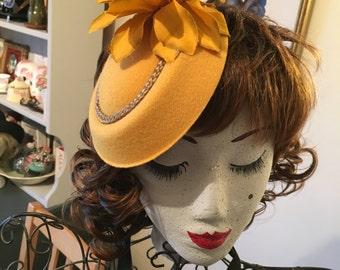 Mustard felt tilt fascinator hat wedding party pin up photo shoot theatre costume