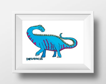 Diplodocus Print - Dinosaur Art - Wall Decor - A3 Print - Childrens Bedroom Art - Poster - Stegosaurus