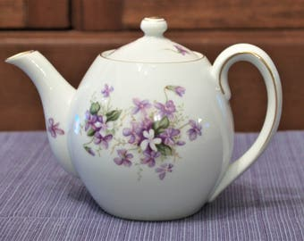 """Rossetti Spring Violets Teapot Occupied Japan Smooth Style 3 Cup 4 1/2"""" w/o Lid"""