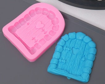 Cartoon Door Silicone Mold - Baking Fondant Soap Chocolate Candy Jelly Flower Fairy Garden Village