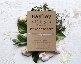 PERSONALISED Will You be my BRIDESMAID? message card with small silver or gold bead on waxed cotton cord wish bracelet jewellery Friend