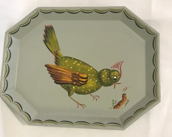 Tole Bird Tray with Earthworm