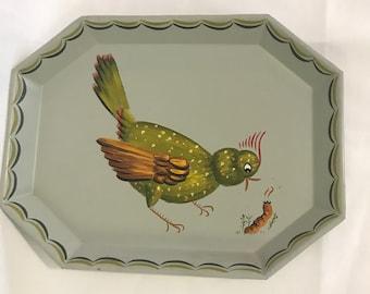Tole Bird Tray with Earthworm