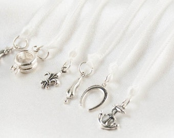 Wedding Cake Pull Ribbons- Sterling Silver Keepsake Charms