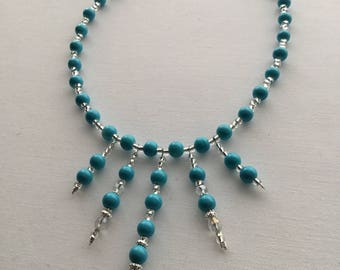 Beaded Blue choker necklace