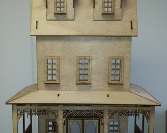 Fdollhouse kit laser cut Abriana Large Country Cottage 1:12 one inch Scale miniature laser cut KIT