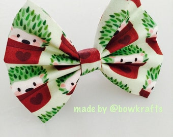 Baby hedgehog and baby fox hair bows