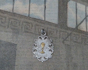 Antique  1900s French Sterling & Vermeil First Holy communion medal /Chalice