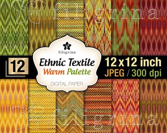 ETHNIC TEXTILE warm palette digital paper. Autumn, fall, oriental pattern textures 12x12 inches, 12 pcs printable background. Commercial use
