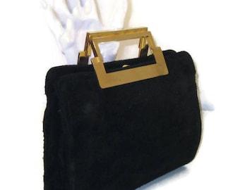 60s Suede Purse Black Suede Bag 1960s Suede Handbag Suede Pocketbook Small Black Purse Black Pocketbook Small Suede Purse