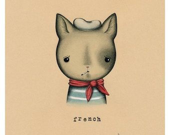 French Cat Print