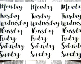 Days of the Week Stickers, Bullet Journal Stickers, Clear Stickers, Transparent Stickers, Script Stickers