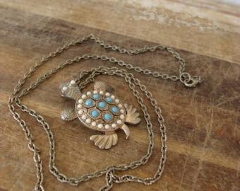 Gold Sea Turtle Necklace - Sea Turtle Pendant - Turtle Necklace - Turtle Pendent - Long Chain Necklace - Faux Turquoise - Pearl Art Nouveau