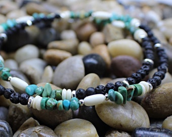 Turquoise, Bone and Lava Rock Necklace