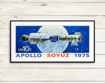 Space kids room decor, NASA poster art prints, Apollo Soyuz, vintage space wall art, fun space astronaut gifts, space theme birthday gifts