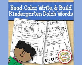 Sight Word Sight Word Activity, Worksheets, Complete Kindergarten Dolch Read It, Build It, Write It Worksheets, Kindergarten Teacher