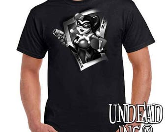 Dc Comics Batman Harley Quinn Joker Card - Mens T Shirt BLACK GREY