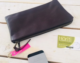 Small leather pouch - chic - makeup pouch - hariti