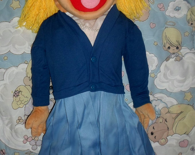 """Puppet - Large 30"""" Full/Half Body Puppet for Professional Use & Puppet Ministry - Blonde Girl in Blue Puppet by Puppets for JESUS"""