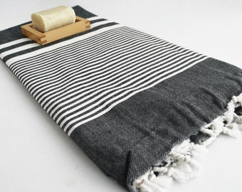 SALE 50 OFF/ Turkish BATH Towel / Striped Peshtemal / Beach, Spa, Swim, Pool Towels and Pareo - Bridesmaid Gifts - Black