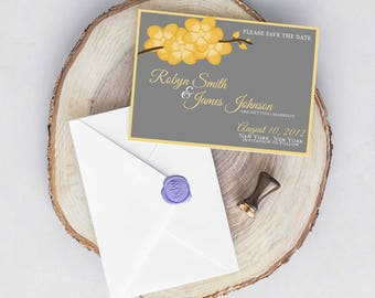 Orchid Branch Modern Wedding Save the Date PRINTABLE / DIY