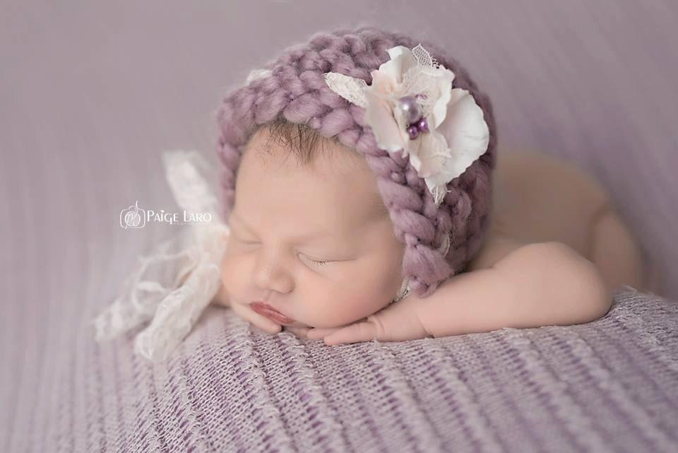 Blume Motorhaube Floral Bonnet Baby Mütze stricken Baby