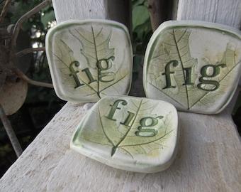 Three Fig Leaf Small Ceramic Plates Tea Bag Holders Tea Lights Ring Holders Stocking Stuffer