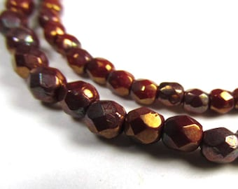 Cherry Gold Luster Czech Glass 3mm or 4mm Fire Polished Faceted Jewelry Beads with Gold Highlights (50)