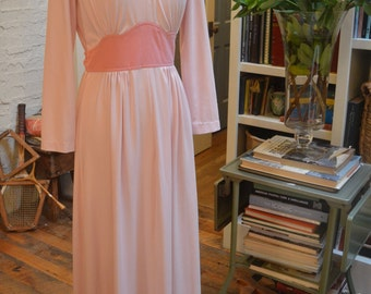 Vintage 1970s Yves Jennet pink maxi dress suede patches XS / S extra small small