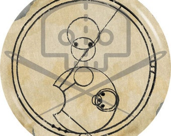 Doctor Who- Inspired ALLONS-Y! in Gallifreyan button