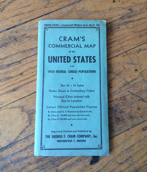 US Map Vintage Crams Commercial Fold out of the United