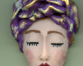 NEW ! OOAK Polymer Clay One of a kind Detailed   Face with Textured Hat ASN 2