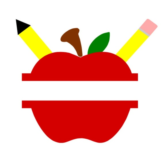 SVG Split Apple with Pencils DXF Back to School Back