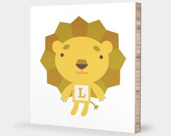 L is for Lion : ABC Block Bamboo Wall Art Series // Alphabet Kids Wall Art Nursery Room Decor Animal Art Baby