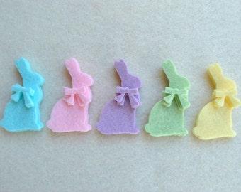 20 Piece Die Cut WOOL Blend Felt Spring Bunnies