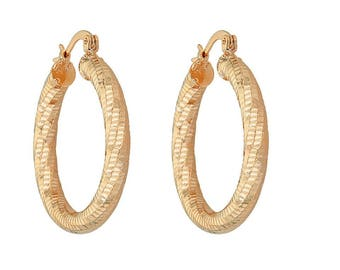 14K Gold Filled Earring with Fashionable Rich Spiral Loop Design