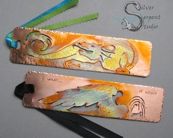 The FANTASY Bookmark -  CUSTOM design, personalized, hand drawn art, metal bookmark, copper, colorful, patina, mythical, realistic, sci fi