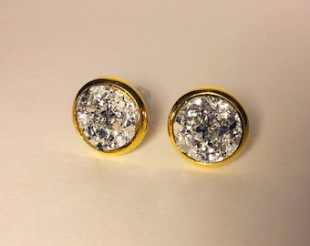 10 mm silver druzy earrings with gold settings