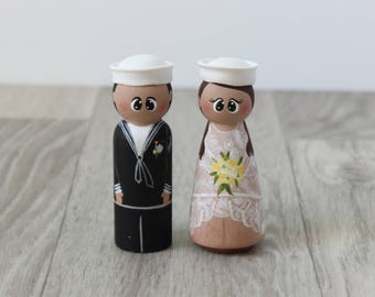 Bride and groom cake topper: Funny wedding cake topper - Sailor Cake Topper - Personalised cake topper - Couple figures - Nautical wedding
