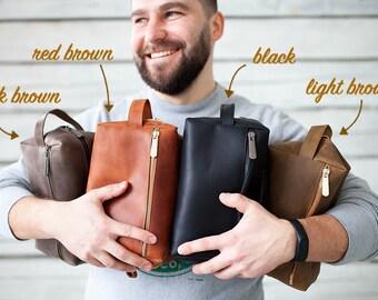 Leather Toiletry Bag Travel Shaving Dopp Kit Groomsmen Gift Mens Gift Personalized Gifts for him Gift for men Boyfriend Gift Custom Gifts