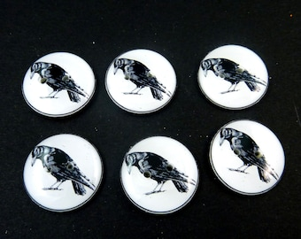 6 Crow  Buttons. Handmade by Me.  Black Bird or Raven. Handmade By Me. Novelty or Craft Supplies. Choose Your Size.