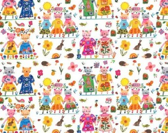 Fabric Best Friends Forever Cats in Multi on white by Carolyn Gavin from the BFFs collection for Windham #50483-x