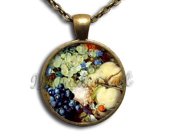 Fruit Palette Glass Dome Pendant or with Chain Link Necklace BF128