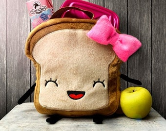 Mrs. Litttle Bread slice LUNCHBOX, fabric lunch bag for girls, waterproof lunch bag, cute lunch box, cute kawaii lunch bag for girls, bread