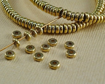 40 Brass Spacer Disk 4mm Heishi Rondelle Disc Saucer Beads from India Flat Metal Beads Natural Heishe