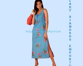 Simplicity 3726 Womens Sleeveless Pullover Maxi Dress Side Slit + Purse size 10 12 14 16 18 20 22 Petite - Plus Size Sewing Pattern Uncut FF