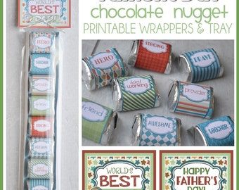 Father's Day Chocolate Nugget Wrappers, CANDY favor or Treat for DAD - Printable INSTANT Download
