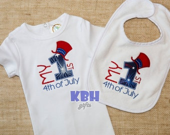 My First Fourth of July Bodysuit and Bib