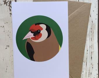 Goldfinch bird greeting card - blank inside